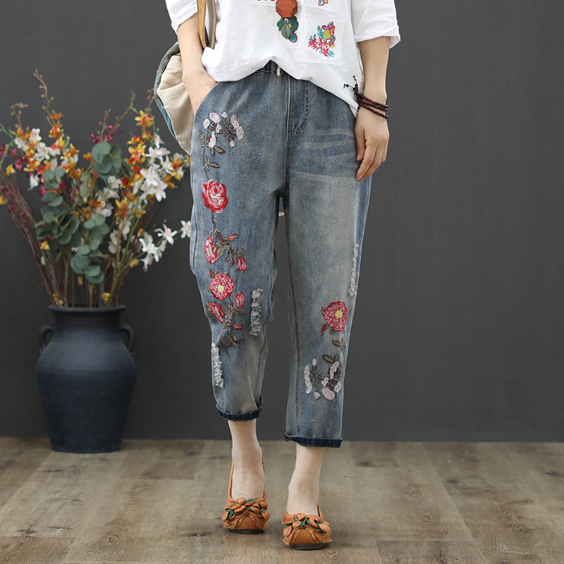 Large Size Cowboy Capri Pants Women's Summer New Style Literature And Art Embroidery Loose-Fit Jin Yao Slimming With Holes Plus-