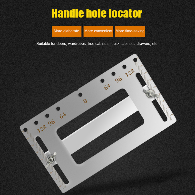 Stainless Steel Door Furniture Handle Hole Punch Locator Wood Drilling Anchor Guide Tools  JA55