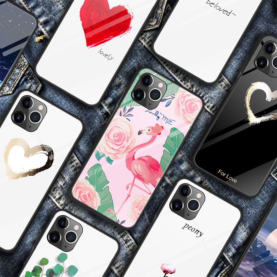 Image 3 - luxury painted tempered glass case for iphone 11 pro max x xr xs 8  7 6 6s universe starry flamingo moon flower pattern soft edgeFitted  Cases