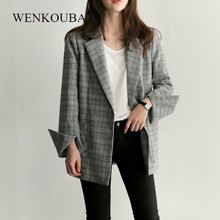 Autumn Women Plaid Blazer Fashion Waist Tie Bow Sashes Split Sleeve Jackets Casual Office Lady Jacket Work Blazers Feminino 2019