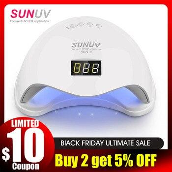 SUNUV SUN5 48W Dual UV LED Nail Lamp Nail Dryer Gel Polish Curing Light with Bottom 30s/60s Timer LCD display
