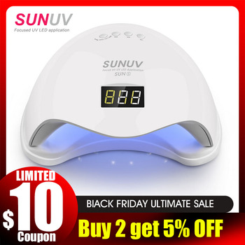 SUNUV SUN5 48W Dual UV LED Nail Lamp Nail Dryer Gel Polish Curing Light with Bottom 30s/60s Timer LCD display
