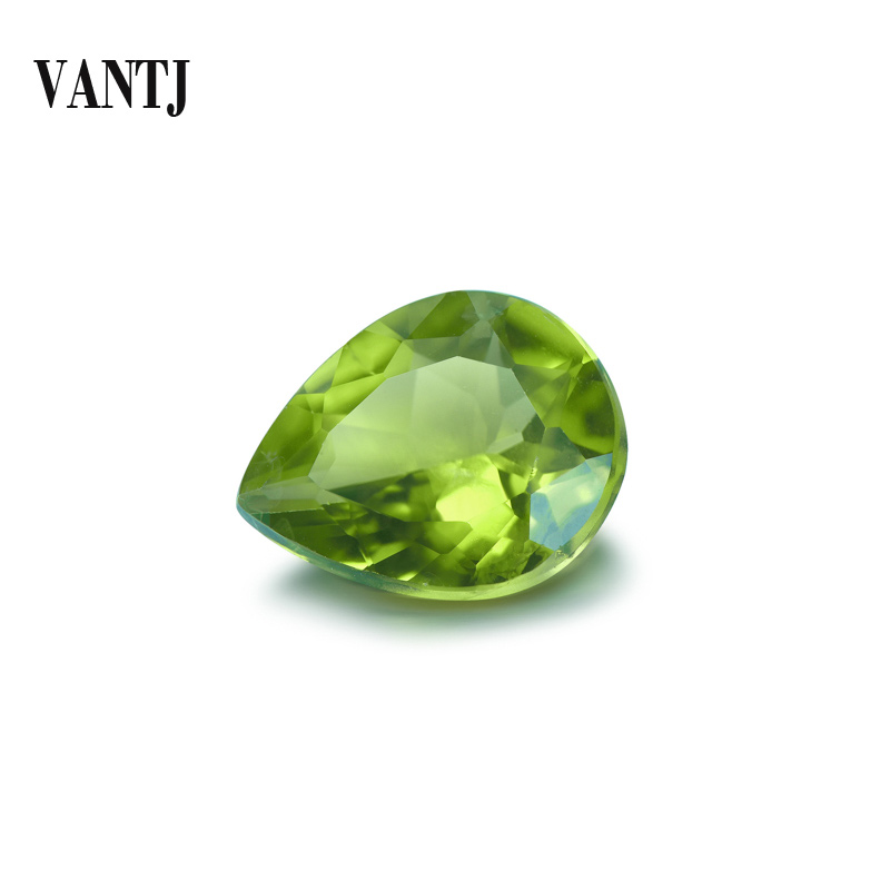 VANTJ Natural Peridot Loose Gemstone Top Quality Pear Cut for Silver Gold Women Jewelry Random Delivery