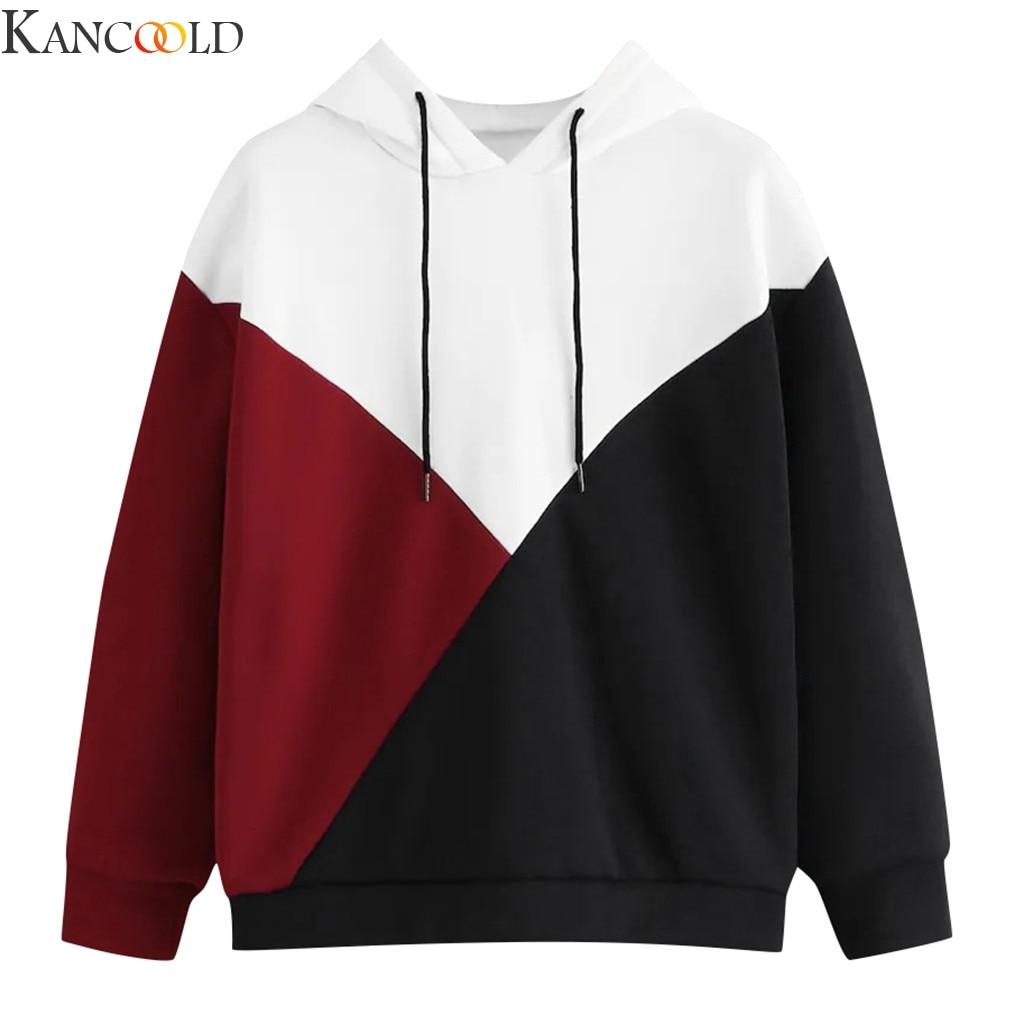 KANCOOLD Autumn Winter Womens Autumn Long Sleeve Patchwork Drawstring Sweatshirt Hooded Pullover Tops Blouse