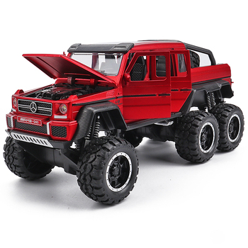 KIDAMI 1:32 Diecast Pickup Alloy Truck Car Model Pull Back Vehicle Model G63 6X6 Sound & Light Car Toys For Children Boys 1 32 scale car model x90 tesla alloy 1 32 diecast model car w sound