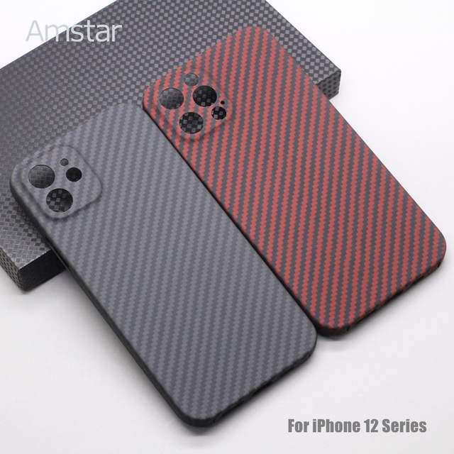Amstar Pure Carbon Fiber Lens Protection Phone Case for iPhone 12 11 Pro Max 12 Mini Ultra Thin Carbon Fiber Hard Cover Cases 1