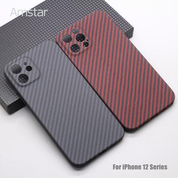 Amstar czysta ochrona obiektywu z włókna węglowego etui na telefon iPhone 12 11 Pro Max 12 Mini Ultra cienkie twarde etui z włókna węglowego tanie i dobre opinie APPLE CN (pochodzenie) Real Carbon Fiber Material