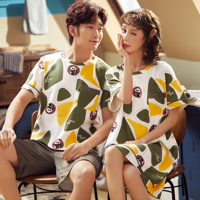 Korean Style Casual Loose-Fit Couples Tracksuit 2020 Summer Wear New Products Cartoon Cute Short Sleeve Men And Women Pajamas Ni