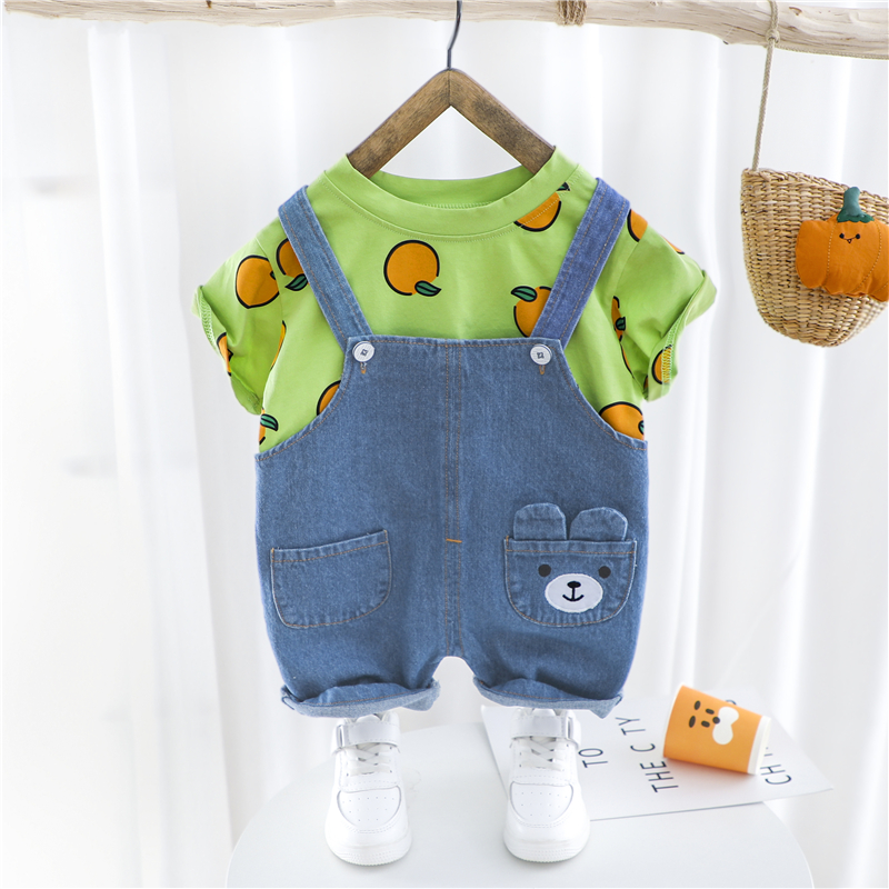 HYLKIDHUOSE 2020 Summer Girls Boys Clothing Sets Casual Style T Shirt Cartoon Denim Shorts Infant Children Vacation Clothing