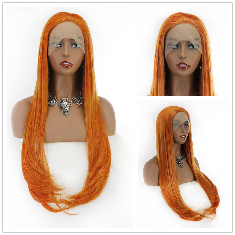Ginger Orange Synthetic Lace Front Wigs with Baby Hair Straight Long Hair Resistant 13*4 Glueless with Natural Hairline