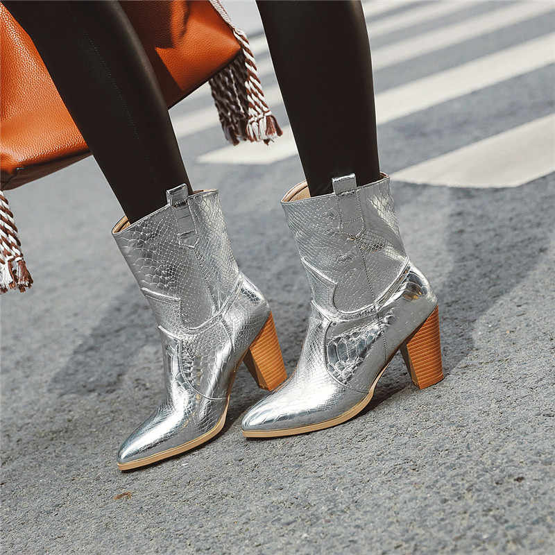 FEDONAS artı boyutu klasik batı botları parti gece kulübü ayakkabı kadın yüksek topuklu kış kadın moda kısa çizmeler yarım çizmeler