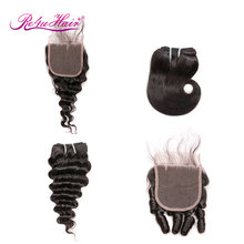 4 Pcs/Lot Bundles with closure Body Wave Human Hair Weave Double wefts Remy Ombre Hair Bundles Short Hair Extensions Outfit Re4u