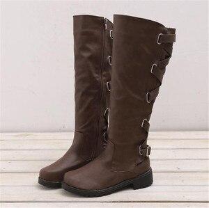 Image 5 - Женские сапоги до колена MORAZORA, удобные повседневные Сапоги на молнии с пряжкой на квадратном каблуке, сезон осень зима, большие размеры 43, 2020