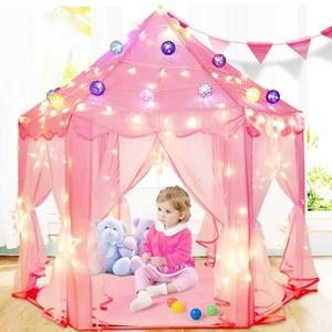 Image 4 - Children Garden Hut Princess Pink Castle Fabric Tents Lodge Girls Boys Outdoor Folding Play Tent Lodge Child Ball Pool Playhouse