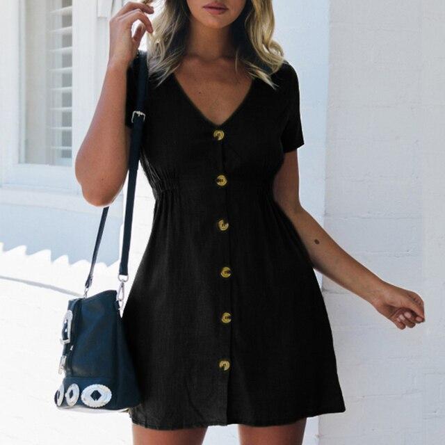 Women's Dress 2021 Spring/Summer Pure Color Single Row Buttons V-Neck Dress Women Slim High Waist Casual Dress Vestido 2
