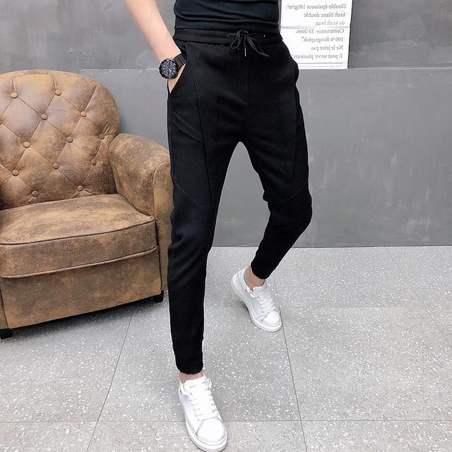 Fashion Korean Solid Joggers Men High Quality Autumn Winter Thick Pants Men Slim Fit Drawstring Mens Casual Pants Black/Gray 36 1
