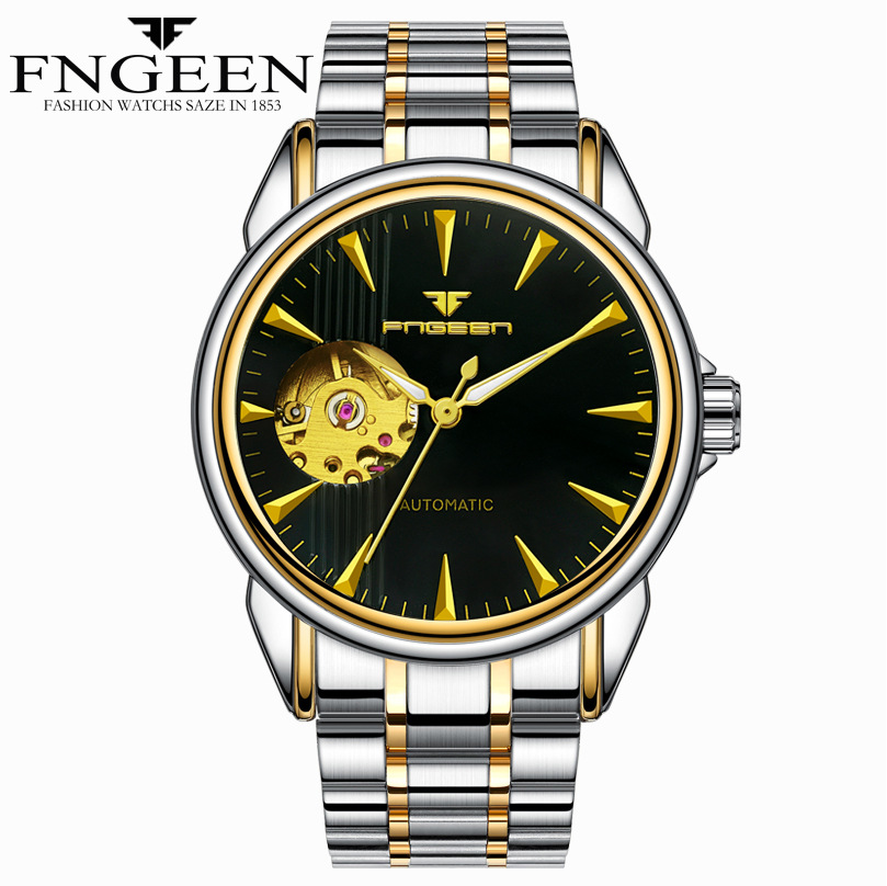 FNGEEN Automatic Men's Watches Skeleton Stainless Steel Mechanical Watch Hollow Back Cover Automatic Watch Men Reloj Hombre 2020
