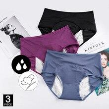 3 pçs calcinha para mulher incontinência calças menstruação quente algodão cuecas à prova de vazamento roupa interior menstrual senhoras sexy cuecas