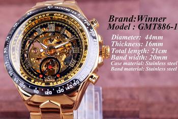 Winner Mechanical Sport Design Bezel Golden Watch Mens Watches Top Brand Luxury Montre Homme Clock Men Automatic Skeleton Watch 3
