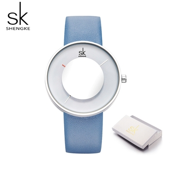 Shengke Brand Fashion Women Watches Lady Creative 2019 SK Mirror Glass Leather Strap Waterproof Quartz Watches Feminine Gift Box image