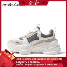 Smile Circle Chunky Sneakers Women's Shoes Flat Platform shoes fashion Lace-up Casual Thick-soled 7cm Ladies Sneakers