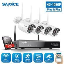 SANNCE 8CH 1080P HDMI WiFi NVR 4PCS 2.0MP IR กลางแจ้งกล้องวงจรปิดไร้สาย IP กล้องความปลอดภัยการเฝ้าระวังวิดีโอชุด