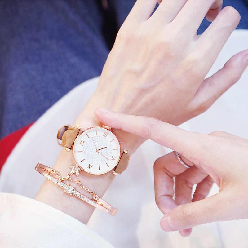 Montres de luxe pour femmes bracelet ensemble ciel étoilé dames femmes montre décontracté en cuir Quartz montre-bracelet fille horloge relogio feminino