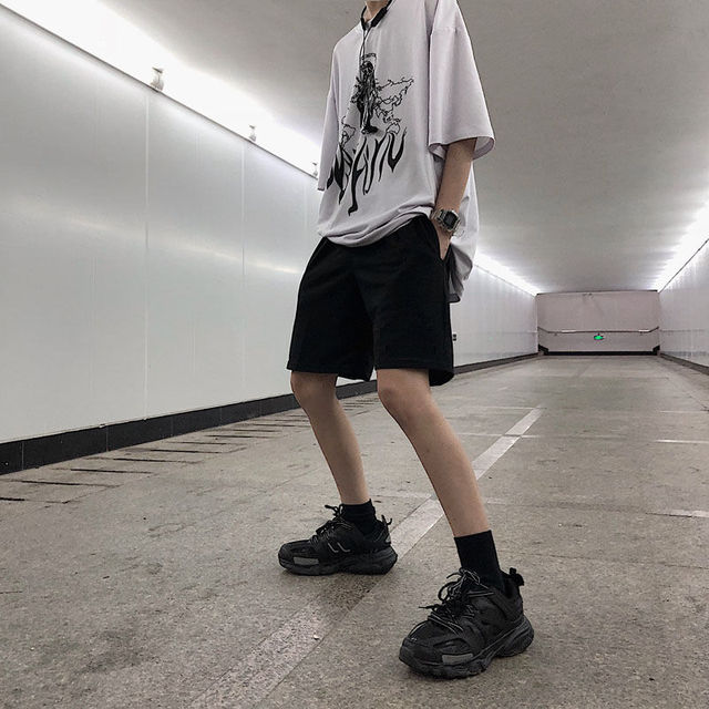 2020 Women Five Pointed Shorts Solid Black Grey Wide short Pants Unisex Students Casual Oversized Streetwear Hip Hop Punk Style 6