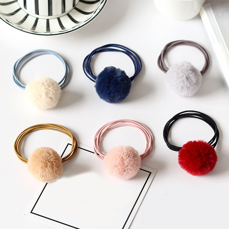 Baby Girls Fashion Gum Cute Pompon Elastic Hair Bands Ball Pink Scrunchie Children Lovely Faux Fur Rubber Band Hair Accessories