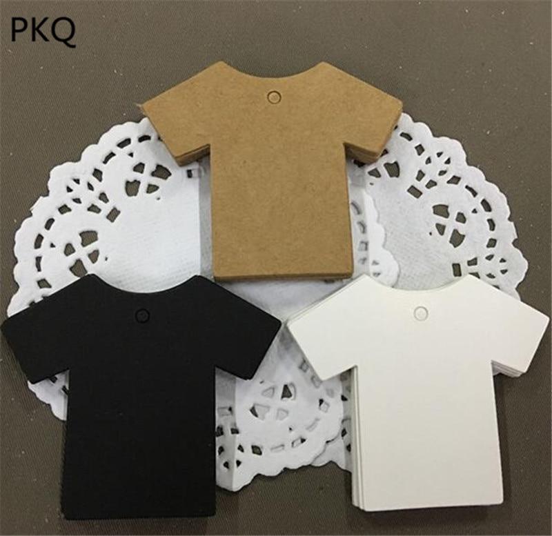 100pcs T-shirt Shape Kraft Paper Tags White Black Brown Blank Craft Gift Tag DIY Wedding Note Labels