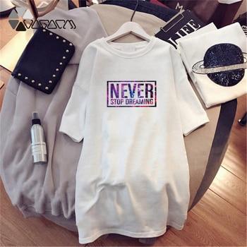 Women Dresses NEVER Series Letter Plus Size Black Mini Dress Loose Summer Long T Shirt Casual Clothes Femme Tops White Sukienka 53