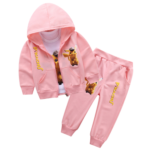 2019 New Children Kids Boys Clothing Sets Autumn Pikachu Sets Hooded Coat Suits Fall Cotton Baby Boys Coat+Pant 3Pcs Clothes set Islamabad