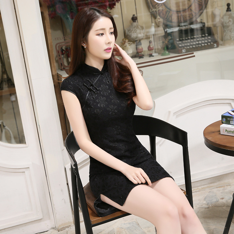 Cheongsam 2019 Dress New Style Spring Fashion Improved Short Lace Black Daily Life Slim Fit Slimming Cheongsam