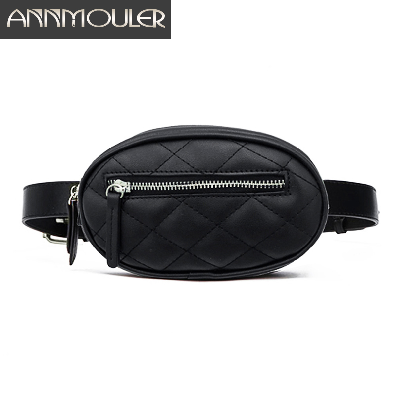 Annmouler Waist Bags For Women New Casual Fanny Pack Solid Leather Waist Pack Black White Bum Chest Bag  Pu Leather Phone Pouch