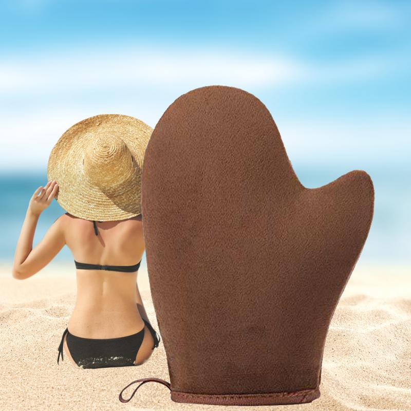 2pcs/set Outdoor Bath Lotion Beach Self Tanning Feet Professional Sunless Body Home Soft Rub Sunscreen Cream Applicator Glove