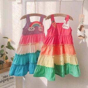 Летние платья для девочек с мультяшным рисунком, Радужное платье на бретелях, детское корейское платье thecake, платья для девочек с цветочным рисунком Платья для девочек      АлиЭкспресс