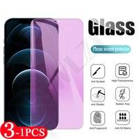 3-1Pcs Anti-Luz Azul para iphone 6 6s 7 8 Plus 11 12 Mini Pro Max X XS X XR SE 2020 teléfono Protector de pantalla de cristal templado película HD