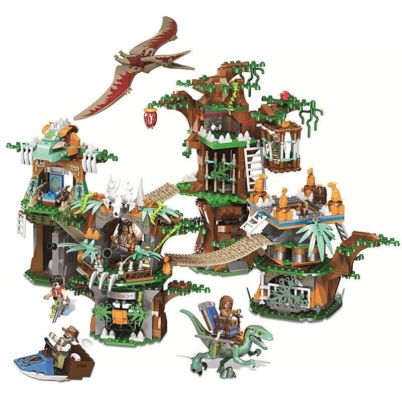 Classique Jurassic World Park série autochtone dinosaure tribu blocs de construction ensembles briques film modèle enfants jouet cadeau