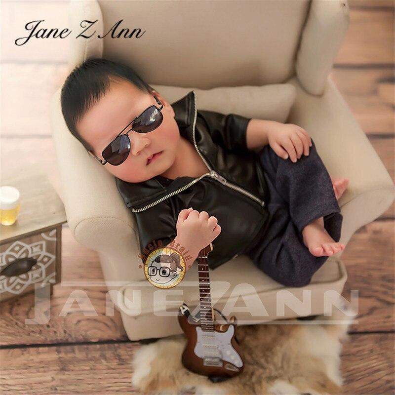 Jane Z Ann Newborn Photography props infant faux Leather jacket pants Social People cool boy  boss creative studio shooting item
