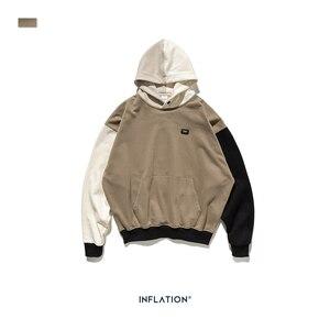 Image 5 - Design de inflação fw 2020 contraste cor dos homens moda hoodies bloco cor masculino hoodie com logotipo impresso rua wear masculino solto ajuste
