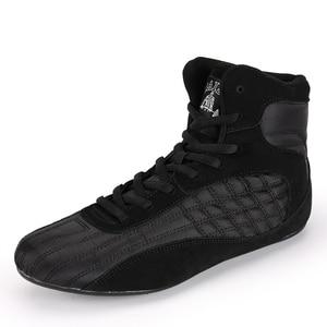 Zapatos de lucha libre para boxeo para hombres y mujeres, zapatos de entrenamiento de cuero para lucha libre, zapatos profesionales para hombres