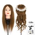 Neverland 100% real cabeça de treinamento do cabelo humano manequim cabeça boneca para cabeleireiro manequim + braçadeira titular