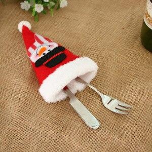 Image 2 - 2020 novo chapéu de natal talheres garfo colher bolso decoração de natal saco santa boneco de neve talheres armazenamento saco decorativo