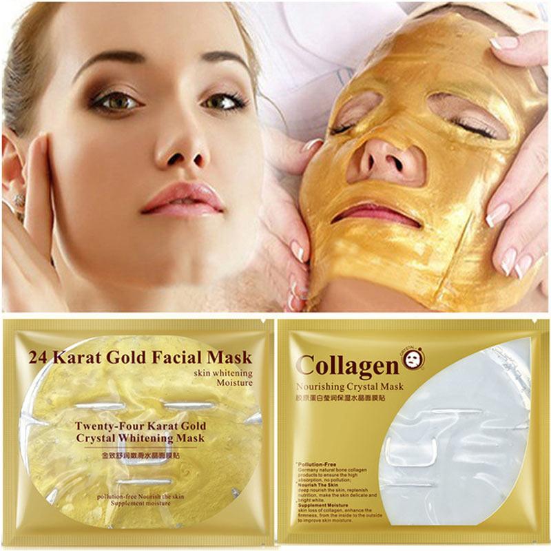 10Pcs BIOAQUA 24K gold collagen face masks Moisturizing Anti Aging sleep mask 60 g Big facial mask Shrink pores skin care