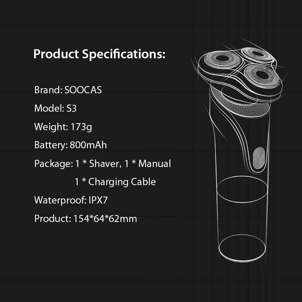 Xiaomi Mijia SOOCAS S3 Electric Shaver Dry Wet Shaving Wireless USB Rechargeable Waterproof Razor with 3 Cutter Head For Men