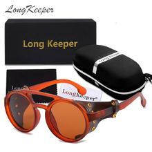LongKeeper Retro Vintage Round Polarized Punk Steampunk Sunglasses For Men Leath