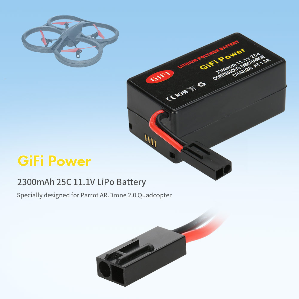 GiFi Power 2300mAh 25C 11.1V LiPo Battery for Parrot AR.Drone 2.0 Quadcopter Parts
