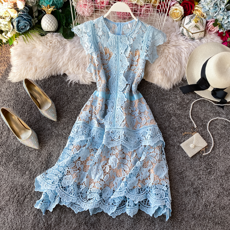 Romantic Irregular Fairy Lace Dresses Ruffles Deco Hollow Butterfly Sleeves Knee-length Dress Women New Year Party Dress