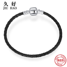 100% Genuine Black Braided charms Women Leather Bracelet 925 Sterling Silver Buckle Weave snake chain jewelry fashion 2018