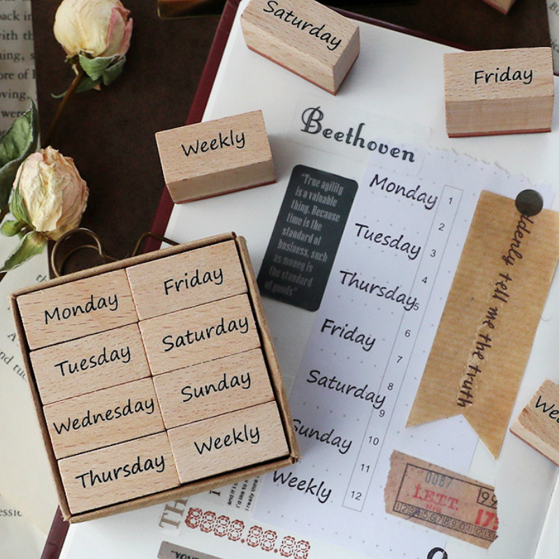 8PCS/LOT Cool Week And Days Wooden Stamps Set 60mm*60mm*29mm DIY Journal Diary Planner Decoration Supplies